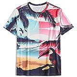 Unisex 3D Impreso T Shirt T Shirt Verano Personalizado Casual Manga Corta tee Shirts Tops Personalidad Creative Beach Coconut Tree Toucan Camiseta de Manga Corta Hombres,Dtl1034,M