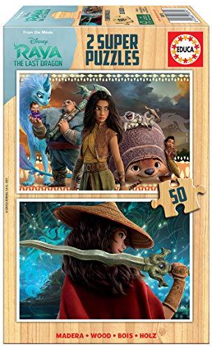 Educa 18879 Disney Raya y el Último Dragón. Set de 2 Puzzles de 50 Piezas. Madera ecológica. A Partir de 4 años. Ref, Multicolor