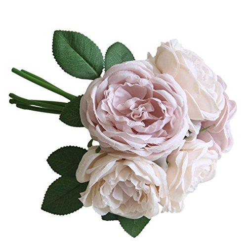 flores artificiales decoración altas para salon Sannysis flores secas naturales flores de tela bouquet flores artificiales decoración exterior para jarrones altas, novia para boda interior plantas - 1 ramo 5 cabezas (rosa)