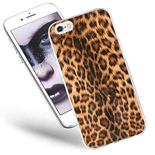 QULT Carcasa para Móvil Compatible con iPhone 6 Plus, iPhone 6S Plus Funda Dibujos Animados Silicona Transparente Suave Bumper Teléfono Caso para iPhone 6 Plus, 6S Plus Leopardo