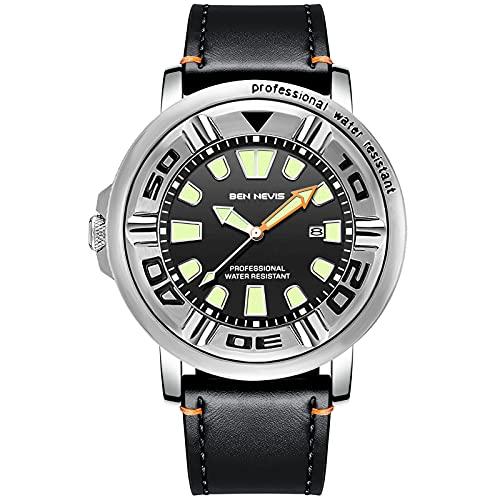 RORIOS Hombre Relojes Impermeable Cuarzo analógico Reloj con Correa en Cuero Relojes de Pulsera Calendario Moda Deportivos Reloj para Hombre Negro