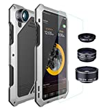 iPhone X Lens Kit Case iPhone Xs Lens Kit Case, SHEROX - 198° Fisheye Lens + 15X Macro Lens + Wide Angle Lens Aluminum Case with Screen Protector for iPhone X/iPhone Xs 5.8', Silver