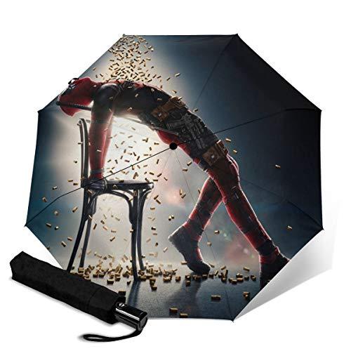 Deadpool Faltbarer Regenschirm, Winddicht, kompakt, faltbar, hochwertig, dreifach gefalteter Regenschirm, kreatives Design, Kunst, Doppel-3D-Druck, UV-Schutz, PG, Ultraleicht, leicht