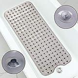 LUFENG Shower Mat, Non Slip Bath Mat with 200 Suction Cups PVC Bathtub Mat Extra Long 101x40.5cm For Bathroom, Hotel, Pet Shower (Clear Grey)