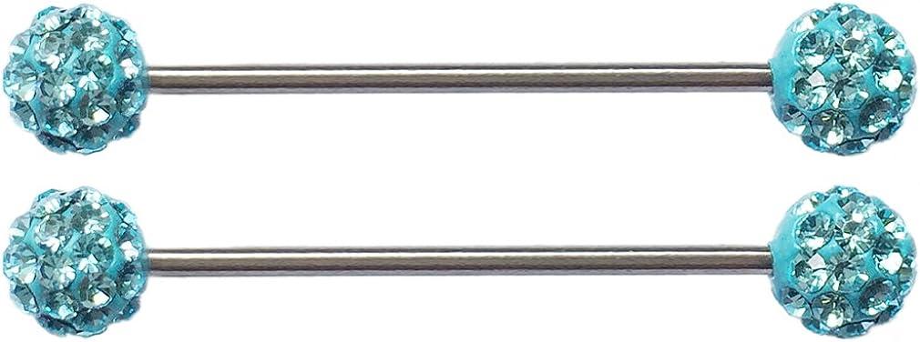 Thenice 1 Pair 1.6mm Length Rod 40mm Ear Bone Earring Industrial Barbell (Blue)