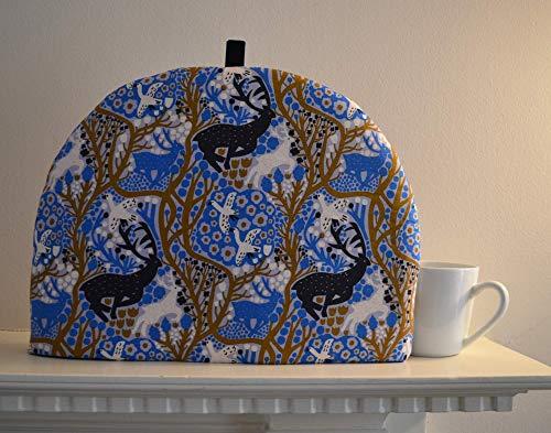 4 Sizes - Artisanal Insulated Tea Cozy - Blue Deer Antlers Mythological Print - Woodland Scene