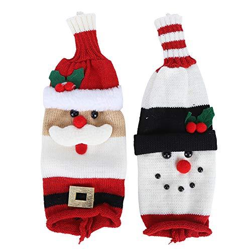 Decoración de botella de vino, 2 unids/set lindo Santa Claus muñeco de nieve cubierta de botella de vino suéter tejido para decoraciones de fiesta de Navidad