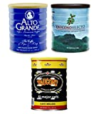Alto Grande Super Premium 8.8 Ounce, Yaucono Selecto Limited Edition Artisan 8.8 Ounce, and Yaucono 10 Ounce, Ground Coffee Canisters, Puerto Rico Variety Bundle