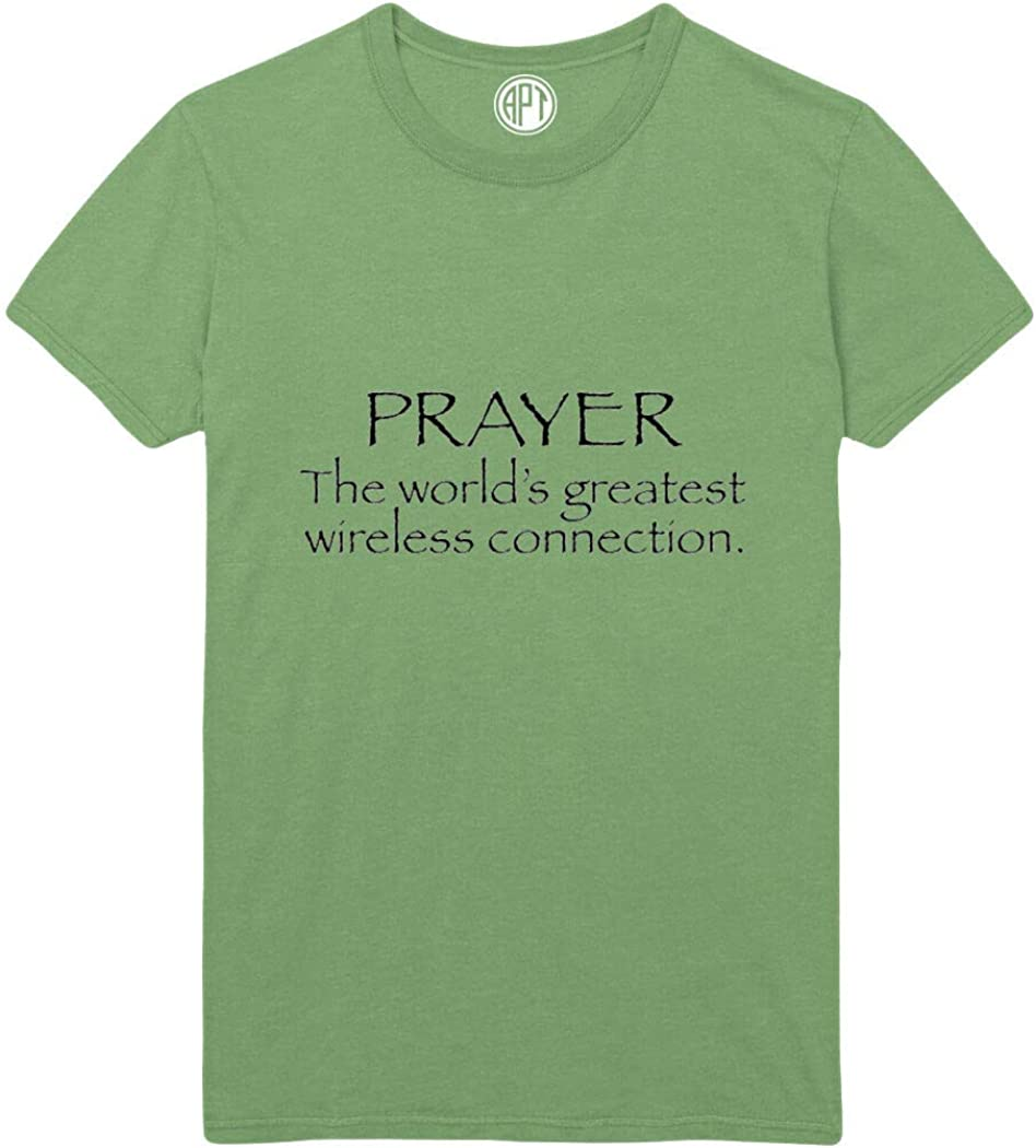 Prayer The World's Greatest Wireless Connection Printed T-Shirt - Dill-Green - XLT