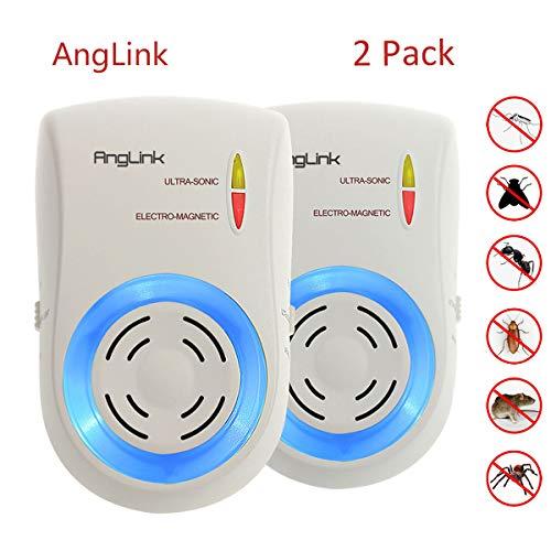 AngLink 2 x Repellente Ultrasuoni e Elettromagnetico per Topi, Insetti, Zanzare, Ratti,...