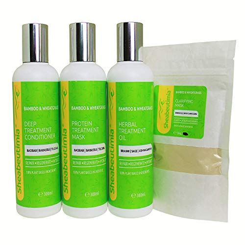 Sheabeutimia Intense Repair Treatment Set -100% Natural. Clarifying Mask, Herbal Oil, Protein Mask & Deep Conditioner. For Damage Free, Fuller & Moisturised Hair. For Adults & Kids. Set of 4