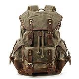 WUDON Men Travel Backpack, Genuine Leather-Waxed Canvas Shoulder Hiking Rucksack (Green)