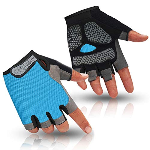 HuwaiH Cycling Gloves Men's/Women's Mountain Bike Gloves Half Finger Biking Gloves Anti Slip Shock Absorbing Gel Pad Breathable Cycle Gloves (Sky Blue, Large)