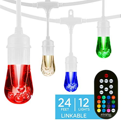 Enbrighten 39511 Vintage Seasons LED Warm White & Color Changing Café String Lights, White, 24ft, 12 Premium Impact Resistant Lifetime Bulbs, Wireless, Weatherproof, Indoor/Outdoor, 24 ft