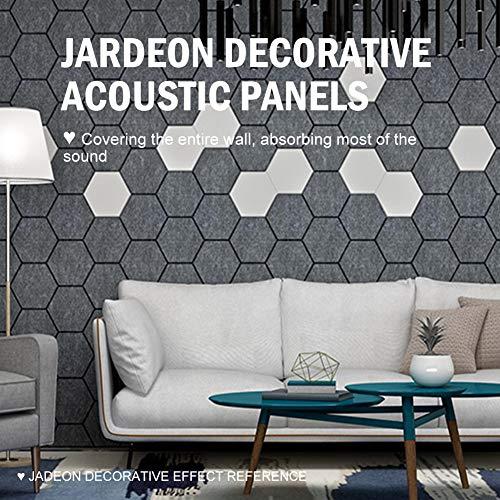 JARDEON Hexagon Acoustic Panels White Art Decor Sound Proof Padding Wall Tiles, Beveled Edge, 13'' X 14'' X 0.4'', 6 Pack