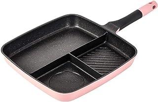 Induction Cooker Baking Pan Frying Pan, Multi-function Three-in-one Maifan Stone Three Grid Baking Pan, Flat Bottom Non-stick Frying Pan (Color : Pink)
