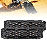 FieryRed Traction Boards - 2 Pcs Traction Mat Recovery for Sand Mud Snow Track Tire Ladder 4X4 - Traction Tracks, Size: 45.3 inch (L) x 13 inch (W) X 2.6 inch (H), Black