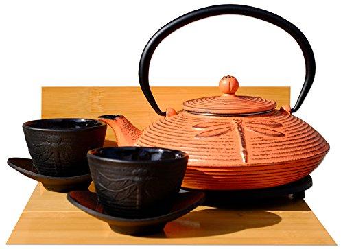 Gifts Of The Orient GOTO - Servizio da tè in ghisa con teiera, coperchio e 2 tazze, motivo libellula, rosso