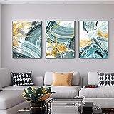 Lámina de oro moderna Verde claro Anillo anual Lienzo Arte de la pared Impresión de póster HD Cuadro de pintura nórdica para la decoración de la sala de estar-42x60cmx3 Pcs Sin marco