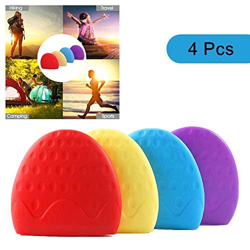 Sinzau - Vaso de agua plegable de silicona para viajes, deportes, camping, senderismo, paquete de 4 (forma de fresa)
