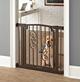 """Noblesse Dog Gate - 34""""-39.5"""" Wide; 32"""" Tall - Indoor Pet Barrier, Walk Through Swinging Door, Extra Wide, Mocha. Pressure Mounted, Expandable. Walls, Stairs. Best Dog Gate."""