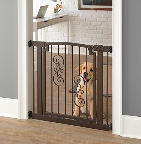 "Noblesse Dog Gate - 34""-39.5"" Wide; 32"" Tall - Indoor Pet Barrier, Walk Through Swinging Door, Extra Wide, Black. Pressure Mounted, Expandable. Walls, Stairs. Best Dog Gate."