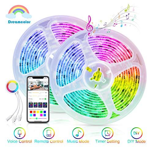 Dreamcolor Alexa LED Strip Streifen 10m(2 x 5m), Maxcio WiFi RGB 5050 LED Leiste, Licht Band Beleuchtung für Zimmer, Bett, steuerbar über APP und Controller, Kompatibel mit Alexa & Google Home