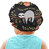 HUISEFOR Adjustable Satin Turban Hat for Baby Girls, Follow Your Dreams Sleep Hat Bonnet Sleeping Cap with Drawstring. Brown