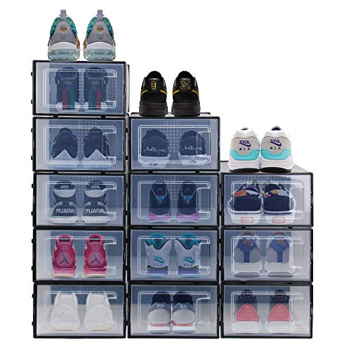 Bengenta 12 Packs Shoe Storage Boxes, Clear Plastic Stackable Shoe Organizer Bins,Front Opening Shoe Holder Containers (Black)