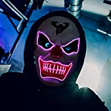 Halloween Mask Light Up Mask LED Costumes Scary Mask for Party Supplies Favor (purple)