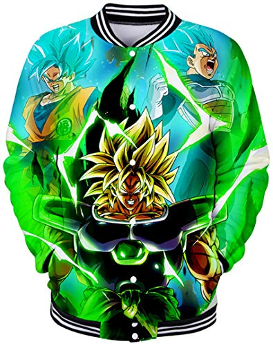 Silver Basic Dragon Ball 3D Manga Larga Chaqueta Uniforme de Béisbol Niño Goku Japan Deportiva,736-1,2XL