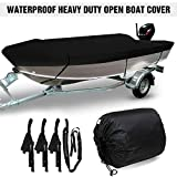 PHASFBJ Runabout Boat Cover, Heavy Duty Waterproof Boat Cover All Weather Outdoor Protection 420D Oxford Fabric Yacht Speedboat Fish-Ski V-Hull Cover Bag,Black,11~13ft