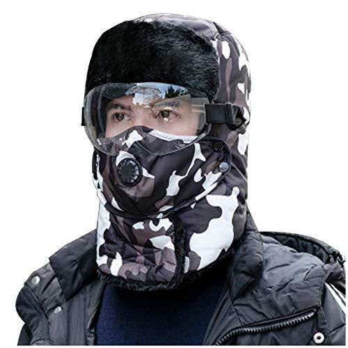 MINIKIMI Unisex WintermüTze Verstellbares Warmes Und Winddichtes Kappenset FüR Skifahren, Schlittschuhlaufen Und Andere Outdoor-AktivitäTen (C-Weiß, Einheitsgröße)