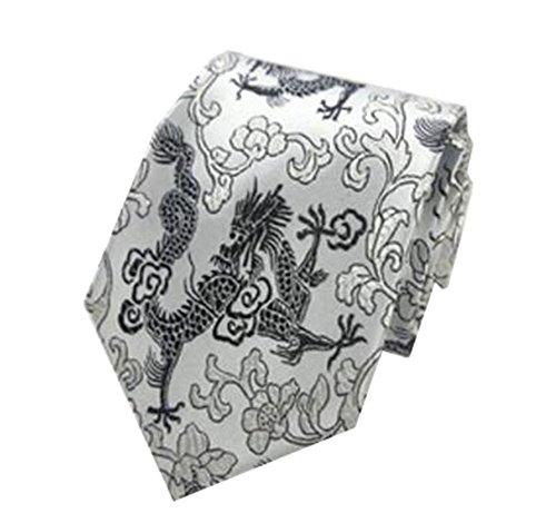 Black Temptation Mode homme Cravates/Motif dragon noeuds papillon/cravate/écharpe/Neckwear-Argent