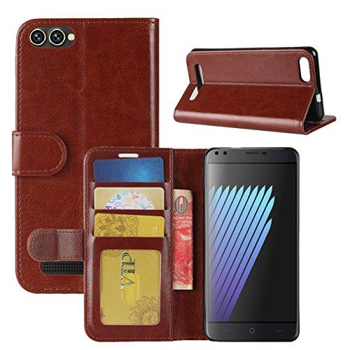HualuBro Doogee X30 Hülle, Premium PU Leder Leather Wallet Handyhülle Tasche Schutzhülle Hülle Flip Cover mit Karten Slot für Doogee X30 5.5 Inch Smartphone (Braun)