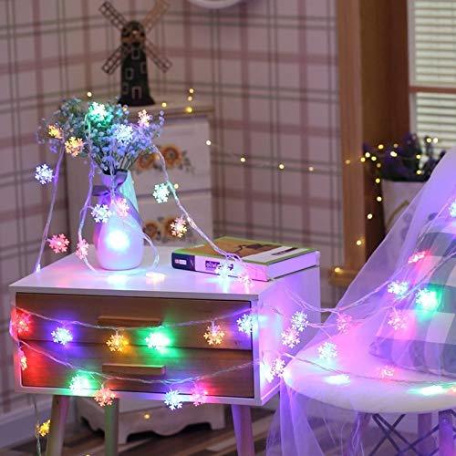 Guirlande LED vacances flocon de neige guirlande lumineuse conte de fées lumière arbre de noël décoration de fête guirlande lumineuse batterie multicolore 6m60 leds