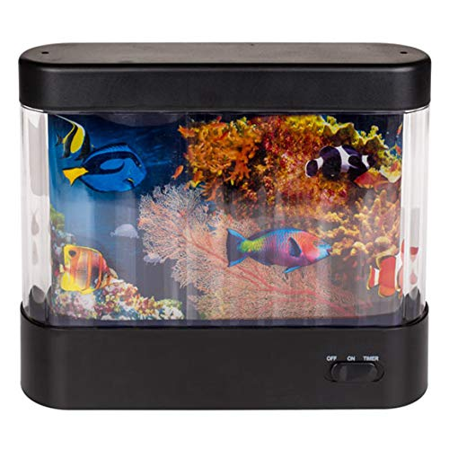 Bada Bing Aquarium Für Kinder Mit LED 360° Drehung Und Timer Fishtank Unterwasserwelt Kinderlicht Dekolicht Fische Spielzimmer Lampe Leuchte 17