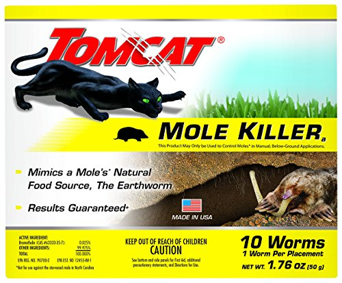 Tomcat Mole Killer-Worm Bait: Ready-to-Use, Includes 10 Worms per Box, Not Available in AK,HI,NY,MT