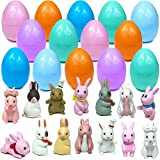 Mini Toy Filled Easter Eggs, 14 Filled with Bunny Miniature Figures Cute Farm Rabbit Display, Surprise Egg for Kids Boys Girls