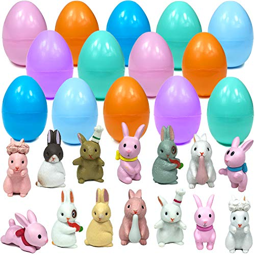 Mini Toy Filled Easter Eggs  14 Filled with Bunny Miniature Figures Cute Farm Rabbit Display  Surprise Egg for Kids Boys Girls