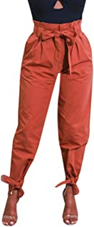 Womens Pants Belted High Waist Trousers Ladies Party Casual