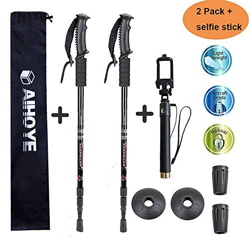 Aihoye Trekking Poles, Collapsible Lightweight Shock-Absorbent Hiking Walking Sticks Adjustable Aluminum Hiking Poles for Women Men Kids, 2 Pack, with Extendable Selfie Stick(Black)