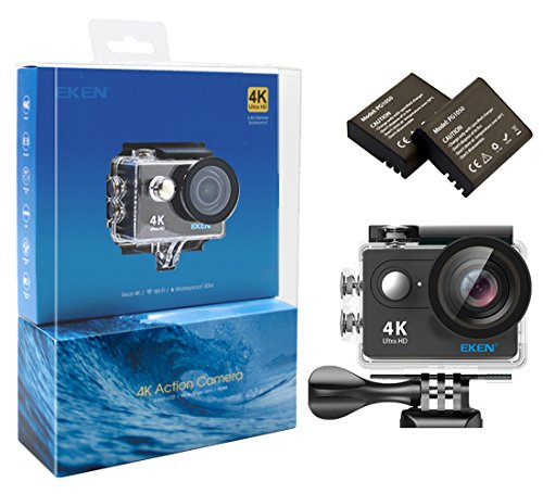 EKEN H9 4K Action Camera Full HD WiFi Waterproof Sports Camera with 4K 25fps 1080P 60fps 720P 120fps Video 12MP Photo and 170 Wide Angle Lens Includes 17 Mountings Kit 2 Batteries Black