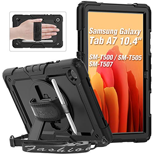 SEYMAC Samsung Galaxy Tab A7 Case 10.4 Inch (SM-T500/SM-T505), Shockproof Full Body Protective Case with 360 Degree Rotating Hand Strap & Stand, Screen Protector, Shoulder Strap, S Pen Holder, Black