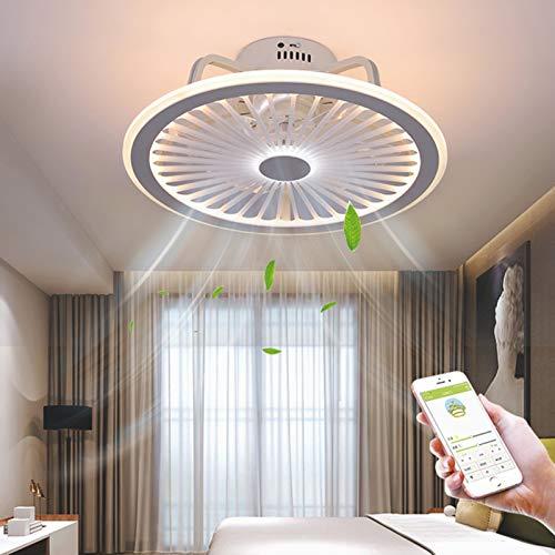 Ventilador de techo con iluminación LED, 3 velocidades, velocidad del viento, luz invisible, ventilador cerrado de perfil bajo, regulable con mando a distancia, 3 temperaturas de color