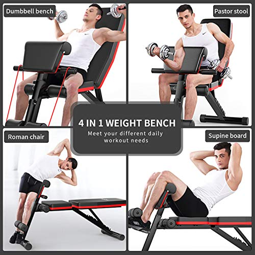 Adjustable Weight Bench Press, Foldable Workout Bench Sit Up Incline, Multi-Purpose Bench, Training Bench for Home Gym Foldable Flat/Incline/Decline FID Bench Press for Full Body Workout