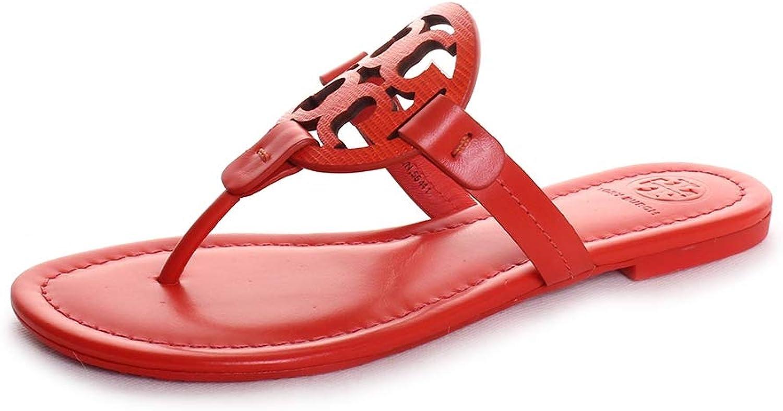 Tory Burch Women's Miller Flat Thong Flip Flops Bright Pomander Leather