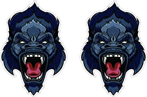 Gorilla Kopf Aufkleber 10cm Ape Affe Monkey Art Sticker / Plus Schlüsselringanhänger aus Kokosnuss-Schale / Auto Motorrad Helm Laptop Windows Racing Tuning Hund Tiere Katze Wolf Tiger Löwe