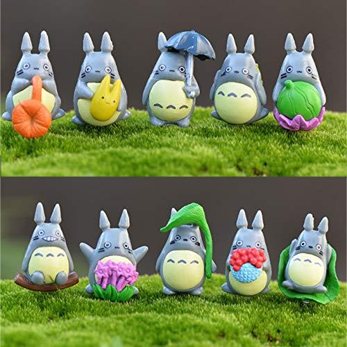 HONIC 10pcs Mein Nachbar Totoro Ornament Miniaturen Fee Gartenzwerg Moos Terrarium Dekor Handwerk Bonsai Hauptdekor