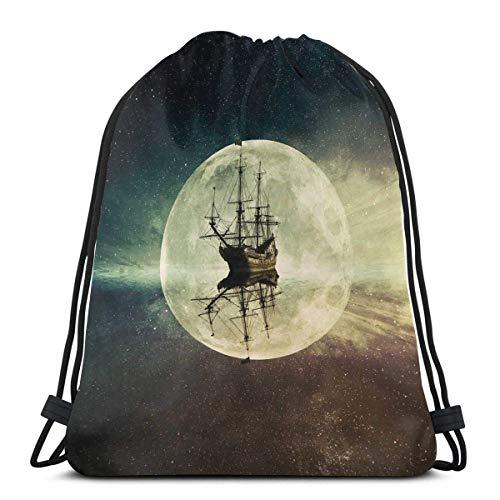 Mochilas Estampadas con cordón, Barco Antiguo Vintage en el mar, luz de la Luna, Cielo Nocturno Estrellado, Aventura, Tema de Viaje, Cierre de Cuerda Ajustable